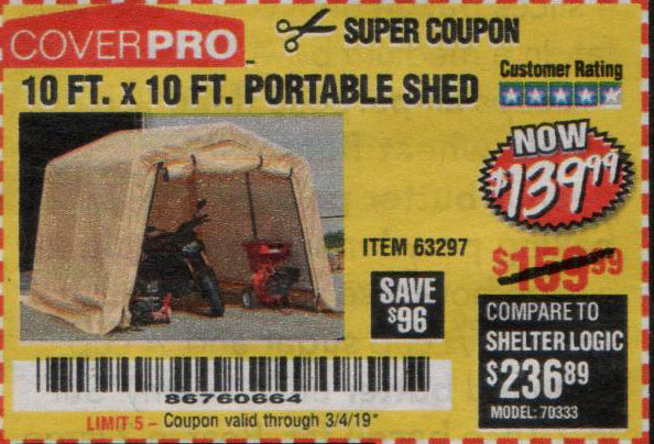 Harbor Freight Coupons, HF Coupons, 20% off - 10 Ft. X 10 Ft. Portable Shed