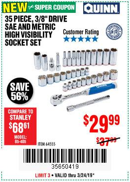 Harbor Freight Coupons, HF Coupons, 20% off - Quinn 35 Piece, 3/8