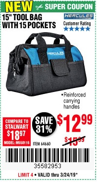 Harbor Freight Coupons, HF Coupons, 20% off - Any Hercules Tool Bag $5 Off