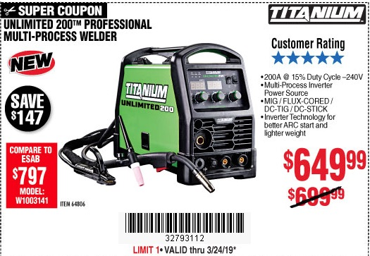 Harbor Freight Coupons, HF Coupons, 20% off - Titanium Unlimited 200 Professional Multiprocess Welder