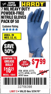 Harbor Freight Coupons, HF Coupons, 20% off - 7 Mil Heavy Duty Powder-free Nitrile Gloves Pack Of 50