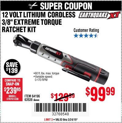 Harbor Freight Coupons, HF Coupons, 20% off - Earthquake Xt 12 Volt, 3/8