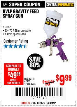 Harbor Freight Coupons, HF Coupons, 20% off - 20 Fl. Oz. Hvlp Gravity Feed Spray Gun