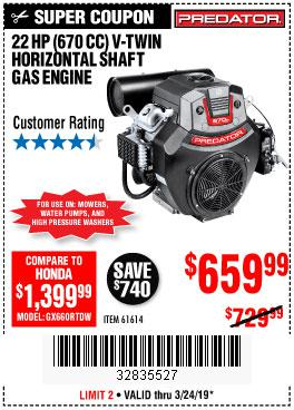 Harbor Freight Coupons, HF Coupons, 20% off - 22 Hp (670 Cc) V-twin Horizontal Shaft Gas Engine