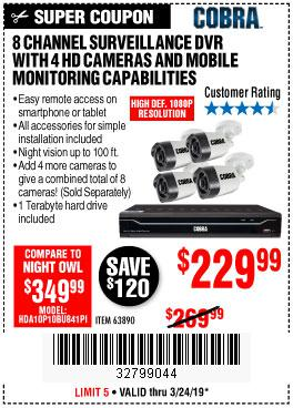 Harbor Freight Coupons, HF Coupons, 20% off - 8 Channel Surveillance Dvr With 4 Hd Cameras And Mobile Monitoring Capabilities