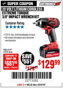 Harbor Freight Coupons, HF Coupons, 20% off - 20 Volt Lithium Cordless 3/8