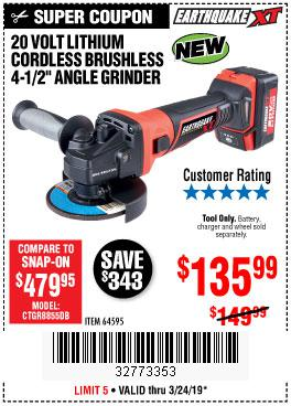 Harbor Freight Coupons, HF Coupons, 20% off - Earthquake Xt 20 Volt Lithium Cordless 4-1/2