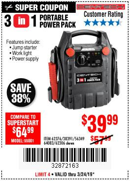 Harbor Freight Coupons, HF Coupons, 20% off - 3 In 1 Portable Power Pack