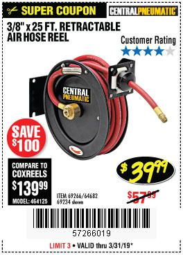 Harbor Freight Coupons, HF Coupons, 20% off - Heavy Duty Retractable Air Hose Reel With 3/8