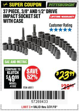 Harbor Freight Coupons, HF Coupons, 20% off - 37 Piece 3/8