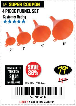 Harbor Freight Coupons, HF Coupons, 20% off - 4 Piece Funnel Set