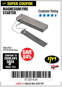 Harbor Freight Coupons, HF Coupons, 20% off - Magnesium Fire Starter