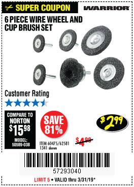 Harbor Freight Coupons, HF Coupons, 20% off - 6 Piece Wire Wheel And Cup Brush Set