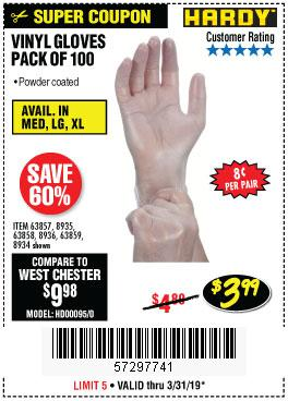 Harbor Freight Coupons, HF Coupons, 20% off - Powder-free Vinyl Gloves Pack Of 100