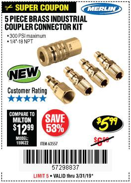 Harbor Freight Coupons, HF Coupons, 20% off - 5 Piece Brass Industrial Coupler Connector Kit