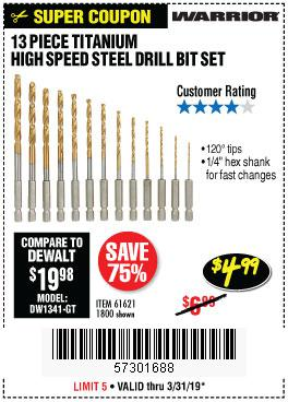 Harbor Freight Coupons, HF Coupons, 20% off - 13 Piece Titanium Nitride Coated High Speed Steel Drill Bits