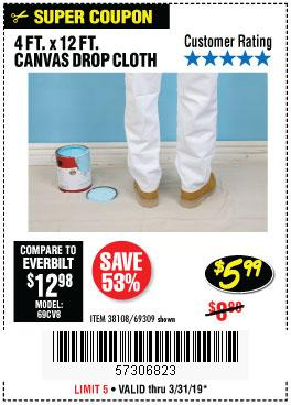 Harbor Freight Coupons, HF Coupons, 20% off - 4 Ft. X 12 Ft. Canvas Drop Cloth