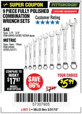 Harbor Freight Coupons, HF Coupons, 20% off - 9 Piece Fully Polished Combination Wrench Sets