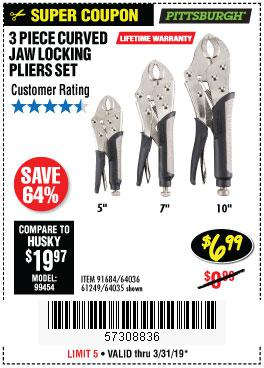Harbor Freight Coupons, HF Coupons, 20% off - 3 Piece Curved Jaw Locking Pliers Set