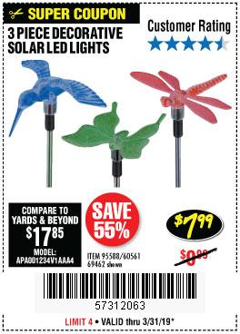 Harbor Freight Coupons, HF Coupons, 20% off - 3 Piece Decorative Solar Led Lights