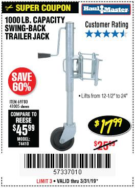 Harbor Freight Coupons, HF Coupons, 20% off - 1000 Lb. Capacity Swing-back Trailer Jack