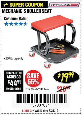 Harbor Freight Coupons, HF Coupons, 20% off - Mechanic's Roller Seat