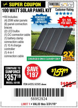 Harbor Freight Coupons, HF Coupons, 20% off - 100 Watt Solar Panel Kit