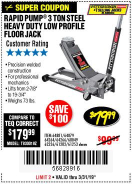 Harbor Freight Coupons, HF Coupons, 20% off - Rapid Pump 3 Ton Low Profile Heavy Duty Steel Floor Jack