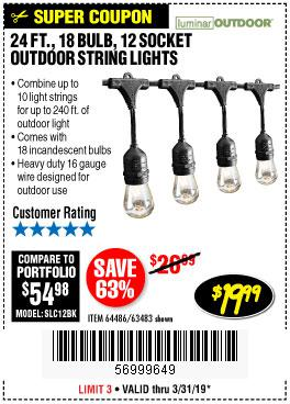 Harbor Freight Coupons, HF Coupons, 20% off - 24 Ft., 18 Bulb, 12 Socket Outdoor String Lights