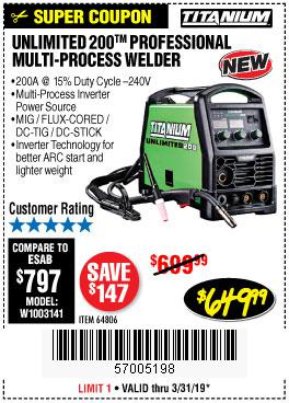 Harbor Freight Coupons, HF Coupons, 20% off - Titanium 200a Multi-process Welder