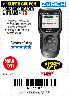 Harbor Freight Coupons, HF Coupons, 20% off - Zurich Obd2 Code Reader With Abs Zr11