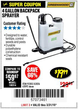 Harbor Freight Coupons, HF Coupons, 20% off - 4 Gallon Backpack Sprayer