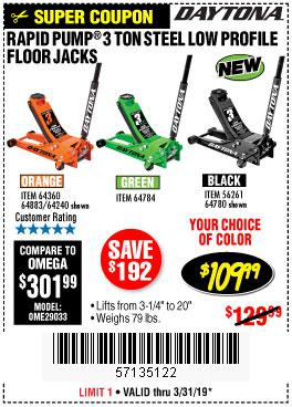 Harbor Freight Coupons, HF Coupons, 20% off - Daytona 3 Ton Low Profile Floor Jack