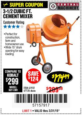 Harbor Freight Coupons, HF Coupons, 20% off - 3-1/2 Cubic Ft. Cement Mixer