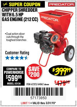Harbor Freight Coupons, HF Coupons, 20% off - Chipper/shredder With 6.5 Hp Gas Engine (212 Cc)