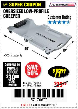 Harbor Freight Coupons, HF Coupons, 20% off - Low-profile Creeper