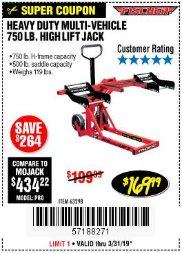 Harbor Freight Coupons, HF Coupons, 20% off - 750lb. Heavy Duty Atv/mower High Lift Jack