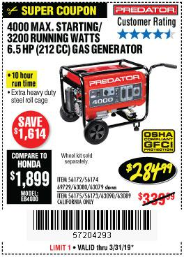 Harbor Freight Coupons, HF Coupons, 20% off - 4000 Max. Starting/3200 Running Watts 6.5hp (212 Cc) Gas Generator