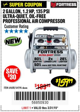 Harbor Freight Coupons, HF Coupons, 20% off - Fortress 2 Gallon 1.2hp, 135psi Air Compressor