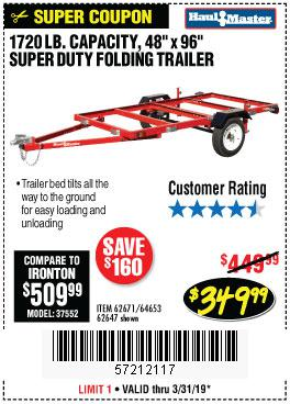 Harbor Freight Coupons, HF Coupons, 20% off - 1720 Lb. Capacity 4 Ft. X 8 Ft. Super Duty Utility Trailer