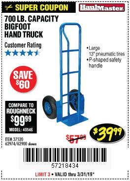 Harbor Freight Coupons, HF Coupons, 20% off - Bigfoot Hand Truck