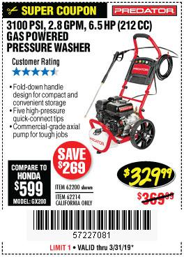 Harbor Freight Coupons, HF Coupons, 20% off - 3100 Psi, 2.8 Gpm 6.5 Hp (212 Cc) Gas Powered Pressure Washers With 25 Ft. Hose