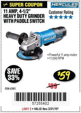 Harbor Freight Coupons, HF Coupons, 20% off - Hercules He61p 11amp, 4-1/2