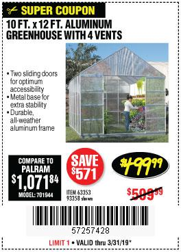 Harbor Freight Coupons, HF Coupons, 20% off - 10 Ft. X 12 Ft. Aluminum Greenhouse With 4 Vents