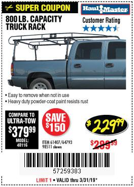 Harbor Freight Coupons, HF Coupons, 20% off - 800 Lb. Capacity Full Size Truck Rack