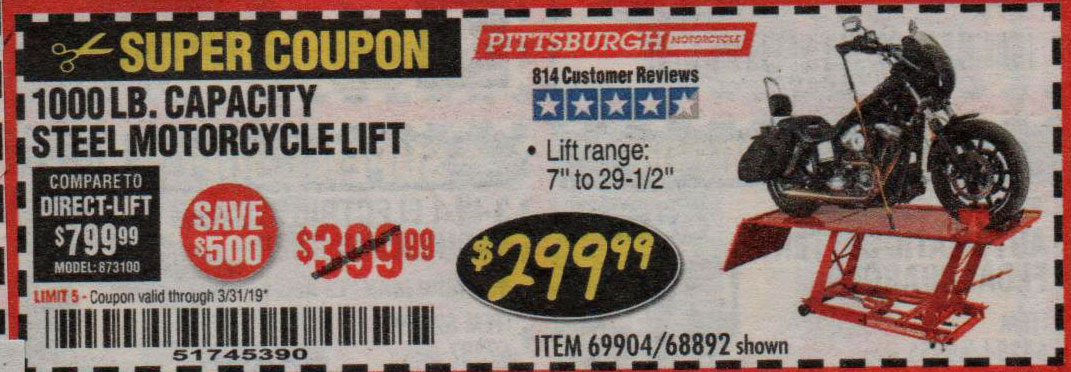 Harbor Freight Coupons, HF Coupons, 20% off - 1000 Lb. Capacity Motorcycle Lift