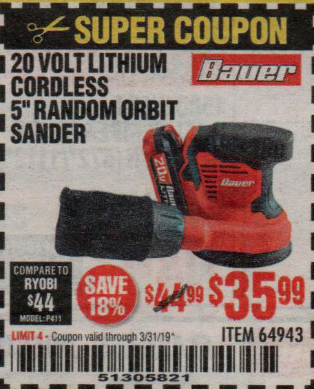 Harbor Freight Coupons, HF Coupons, 20% off - Bauer 20 Volt Lithium Cordless 5
