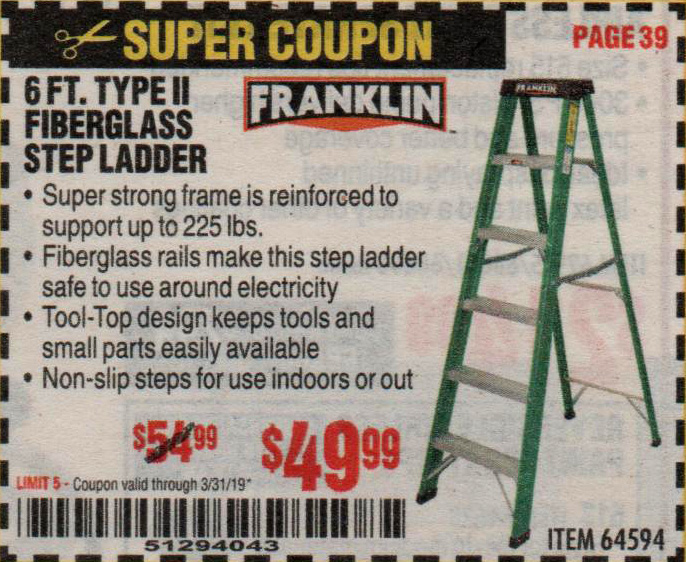 Harbor Freight Coupons, HF Coupons, 20% off - 6 Ft. Type Ii Fiberglass Step Ladder