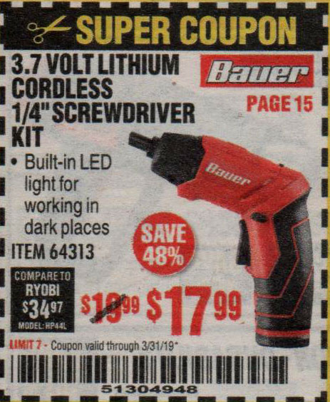 Harbor Freight Coupons, HF Coupons, 20% off - Bauer 3.7 Volt, 1/4