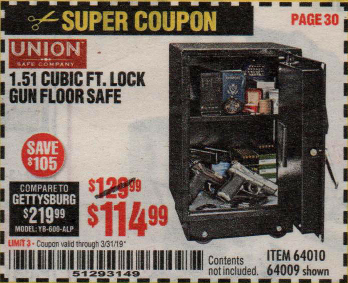 Harbor Freight Coupons, HF Coupons, 20% off - 1.51 Cubic Ft. Lock Gun Floor Safe